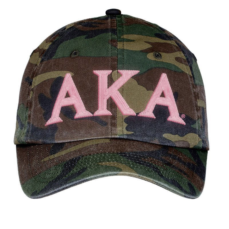 Alpha Kappa Alpha Lettered Camouflage Hat - FREE GROUND SHIPPING