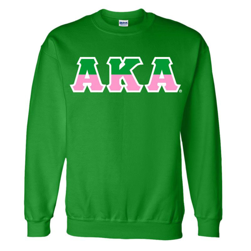 Alpha Kappa Alpha Two Tone Greek Lettered Crewneck Sweatshirt
