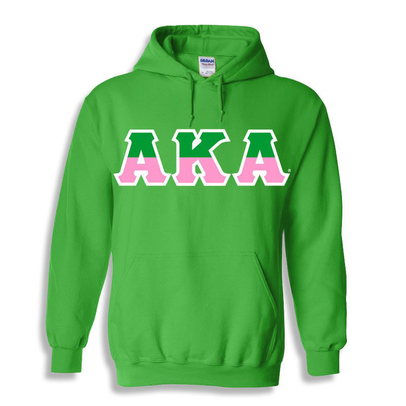 Alpha Kappa Alpha Two Tone Greek Lettered Hooded Sweatshirt