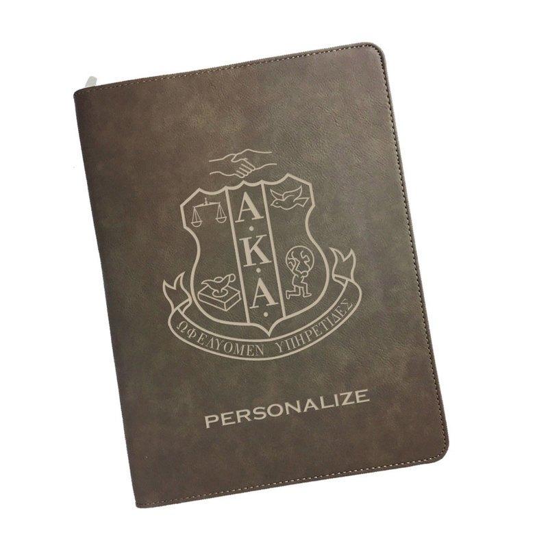 Alpha Kappa Alpha Zipper Leatherette Portfolio with Notepad