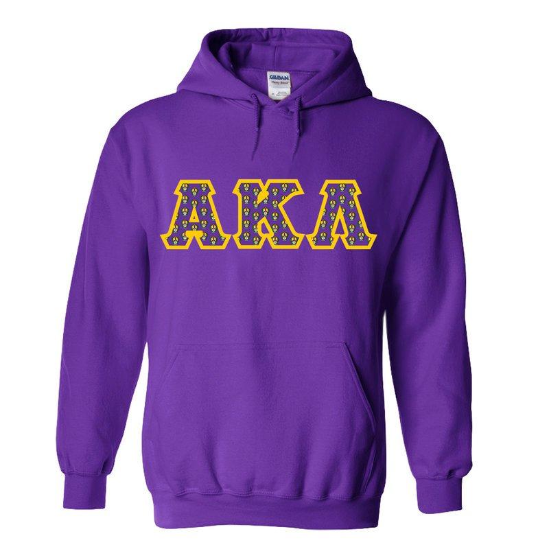 Alpha Kappa Lambda Fraternity Crest - Shield Twill Letter Hooded Sweatshirt