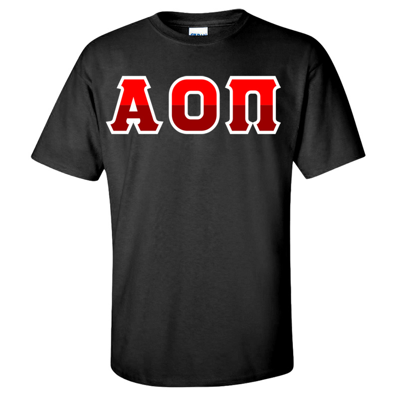 Alpha Omicron Pi Two Tone Greek Lettered T-Shirt