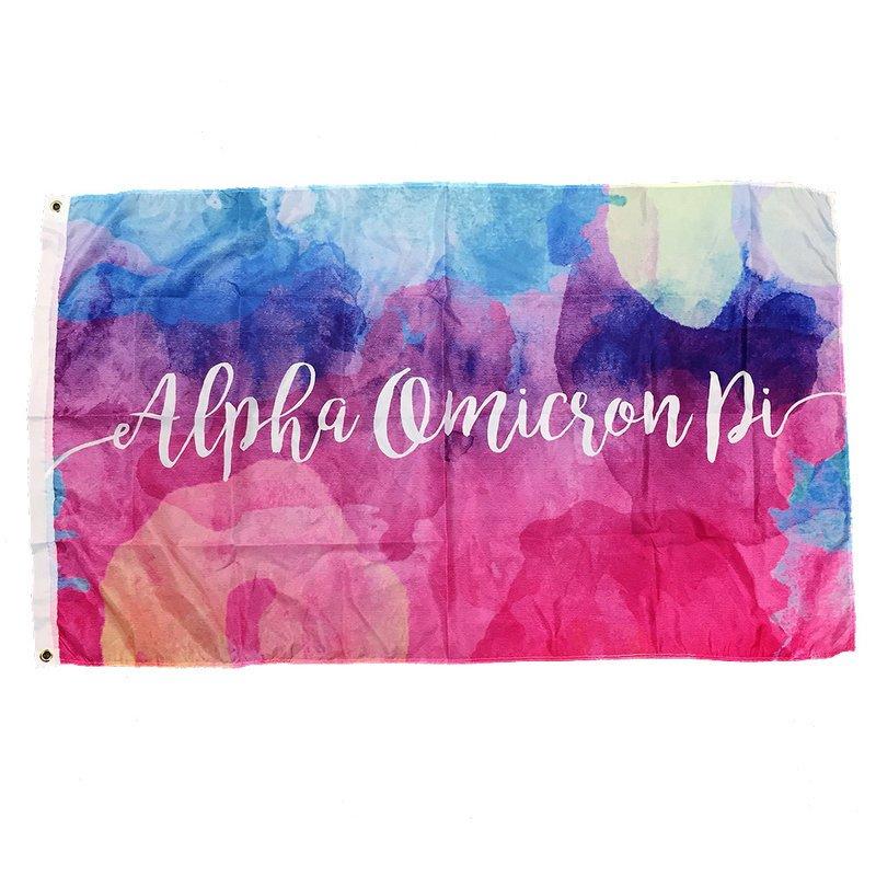 Alpha Omicron Pi Watercolor Sorority Flag