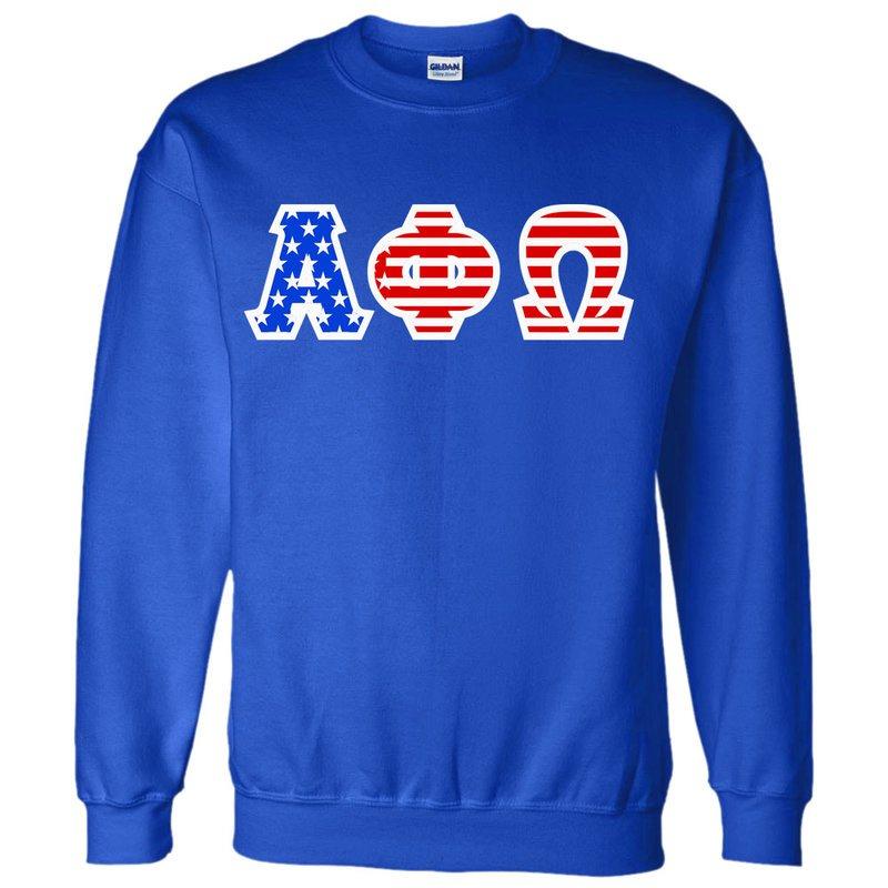 Alpha Phi Omega Greek Letter American Flag Crewneck