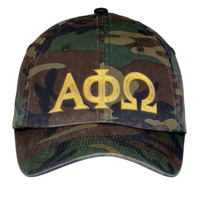 Alpha Phi Omega Lettered Camouflage Hat