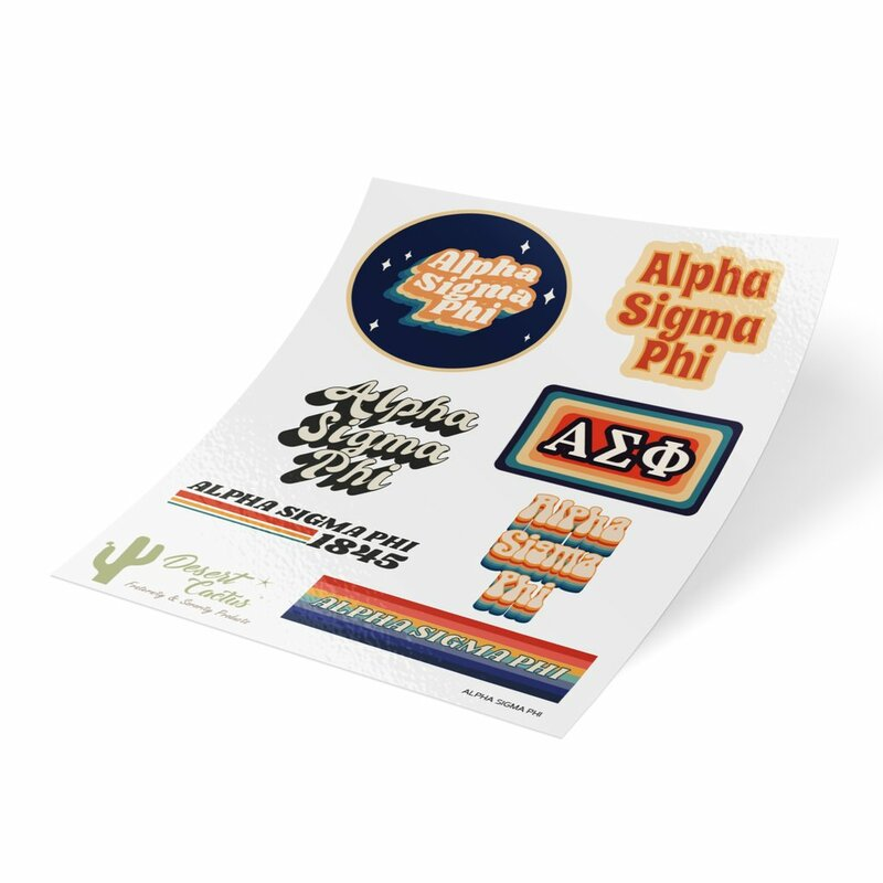 Alpha Sigma Phi 70's Sticker Sheet