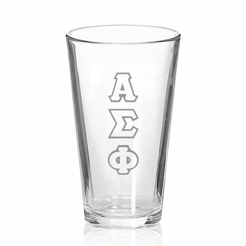 Alpha Sigma Phi Big Letter Mixing Glass