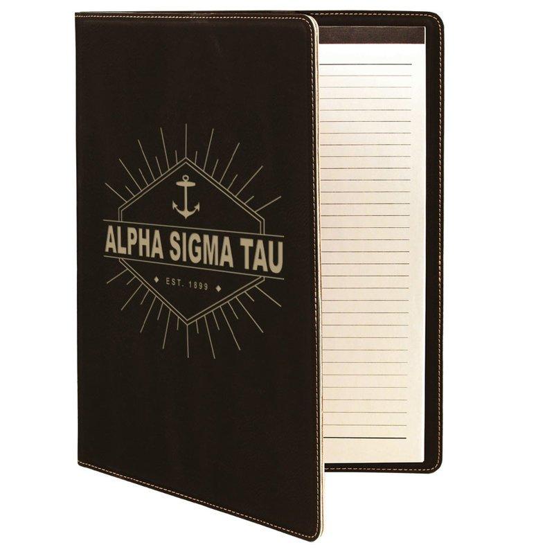 Alpha Sigma Tau Leatherette Mascot Portfolio with Notepad