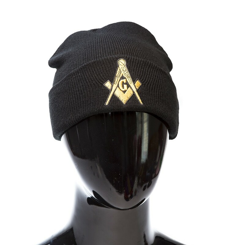 Black Knit Beanie w/Mason / Freemason Shield