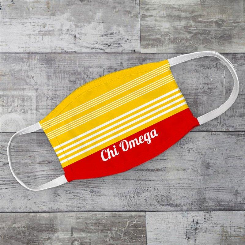 Chi Omega Two Tone Stripes Face Mask