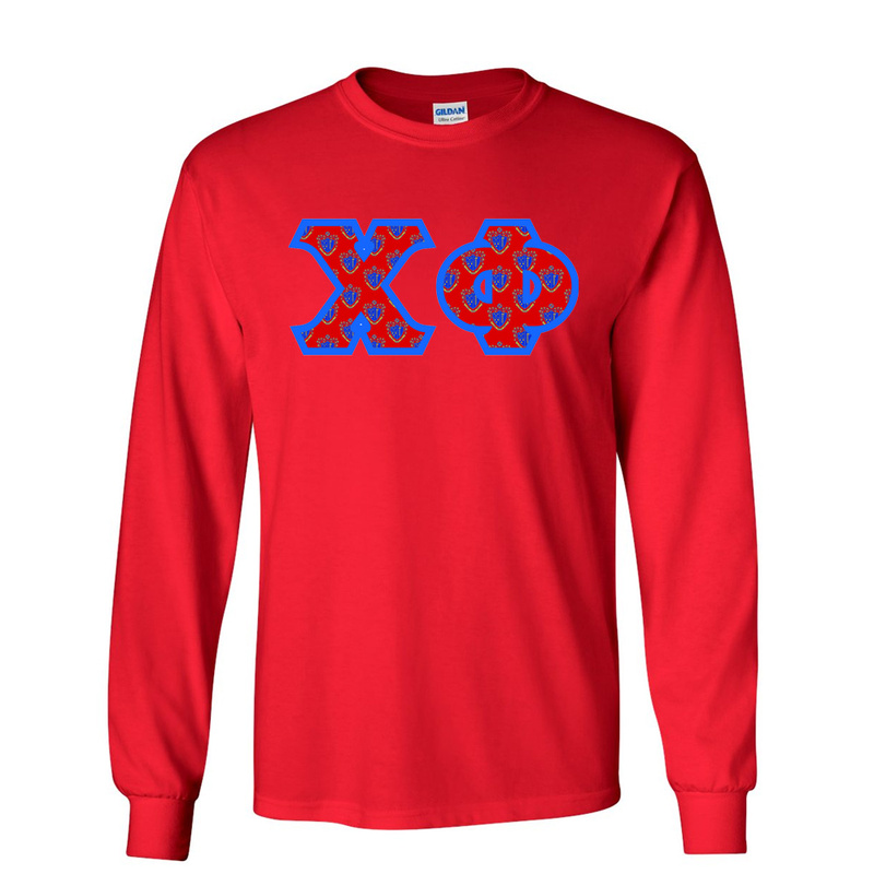 Chi Phi Fraternity Crest - Shield Twill Letter Longsleeve Tee