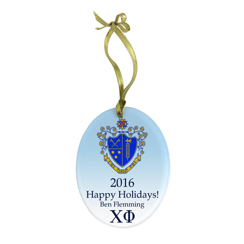 Chi Phi Holiday Color Crest - Shield Glass Ornament