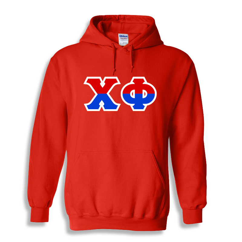Chi Phi Two Tone Greek Lettered Hooded Sweatshirt