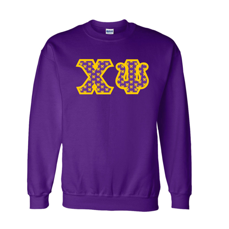 Chi Psi Fraternity Crest - Shield Twill Letter Crewneck Sweatshirt