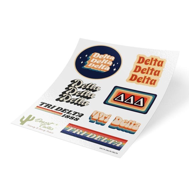Delta Delta Delta 70's Sticker Sheet