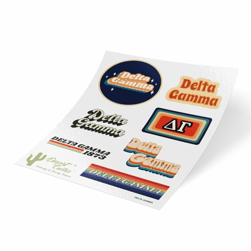 Delta Gamma 70's Sticker Sheet