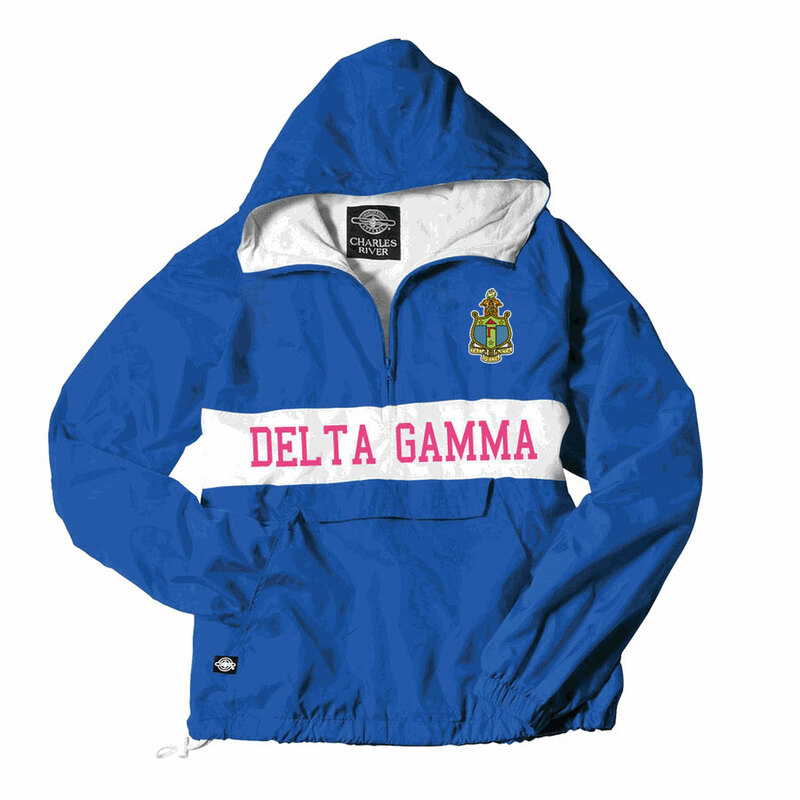 Delta Gamma Charles River Custom Stripe Greek Pullover Anorak