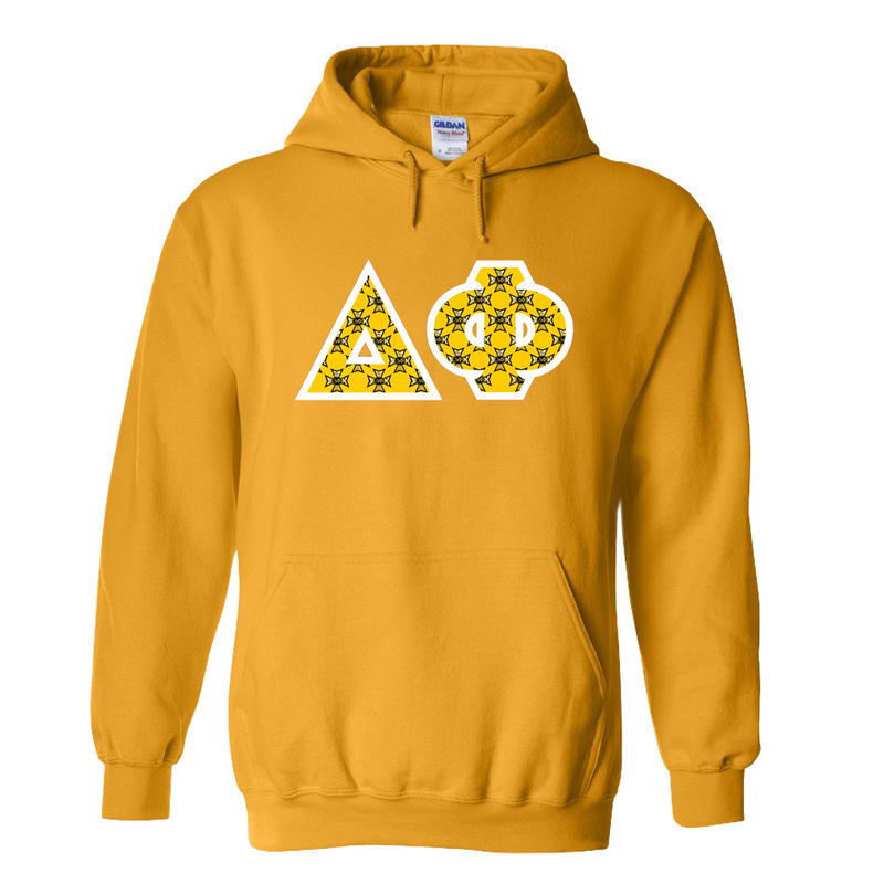 Delta Phi Fraternity Crest - Shield Twill Letter Hooded Sweatshirt