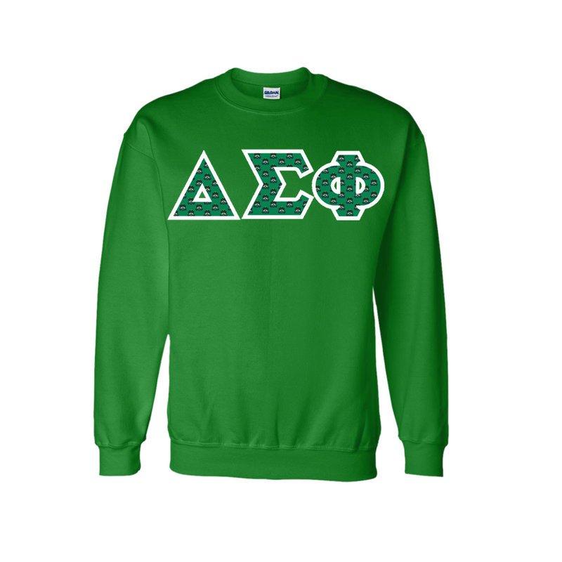 Delta Sigma Phi Fraternity Crest - Shield Twill Letter Crewneck Sweatshirt