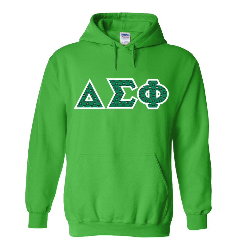 Delta Sigma Phi Fraternity Crest Twill Letter Hooded Sweatshirt