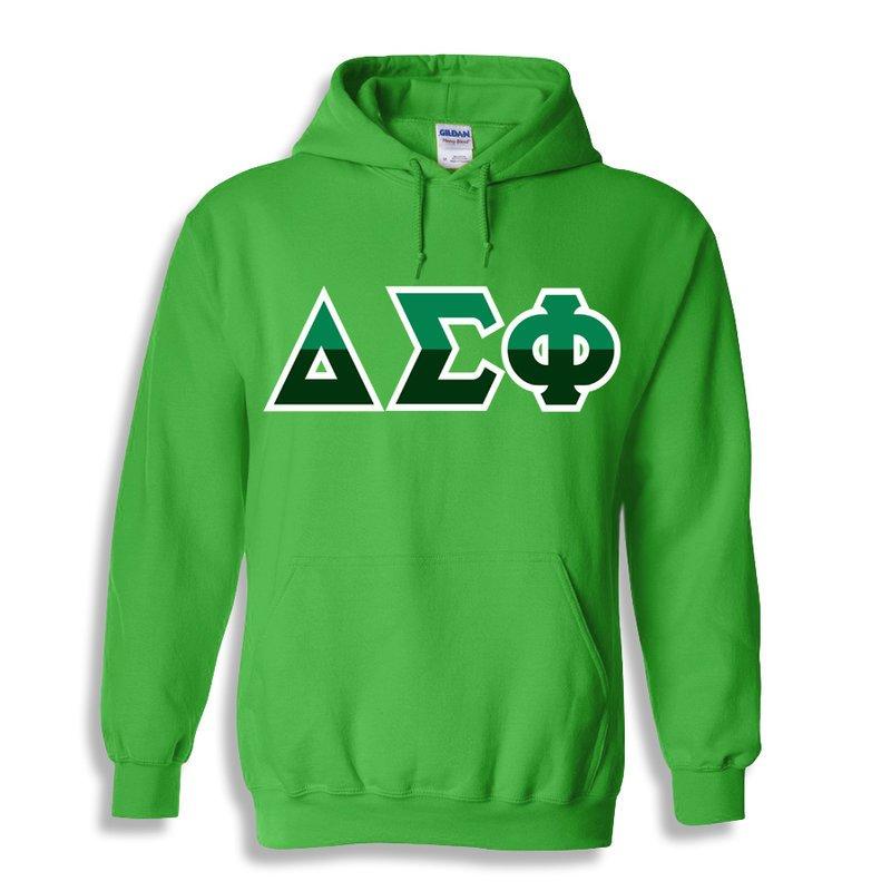 Delta Sigma Phi Two Tone Greek Lettered Hooded Sweatshirt