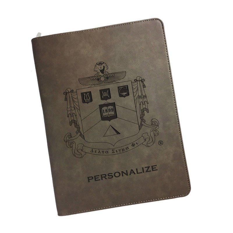 Delta Sigma Phi Zipper Leatherette Portfolio with Notepad