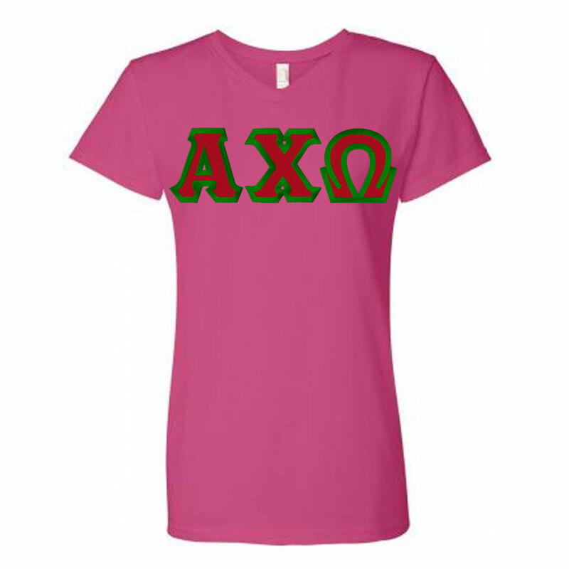 DISCOUNT-Alpha Chi Omega Lettered V-Neck Tee
