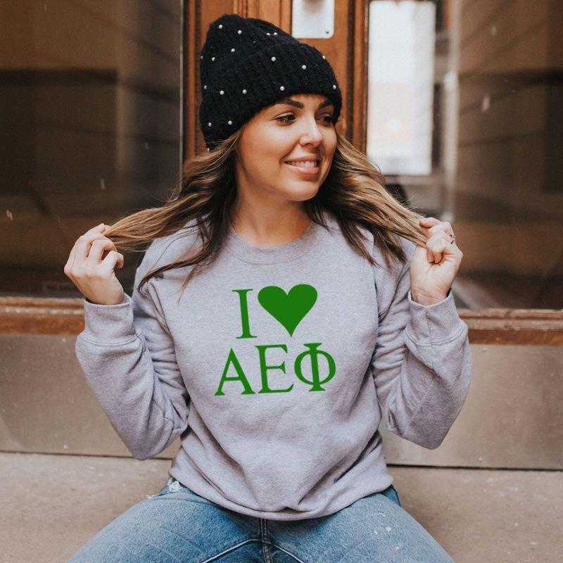 I Love Alpha Epsilon Phi Crewneck Sweatshirt