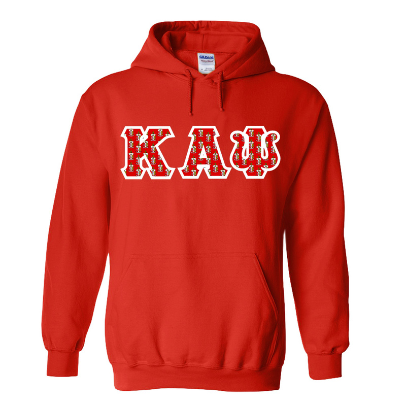 Kappa Alpha Psi Fraternity Crest - Shield Twill Letter Hooded Sweatshirt