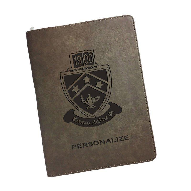 Kappa Delta Phi Zipper Leatherette Portfolio with Notepad