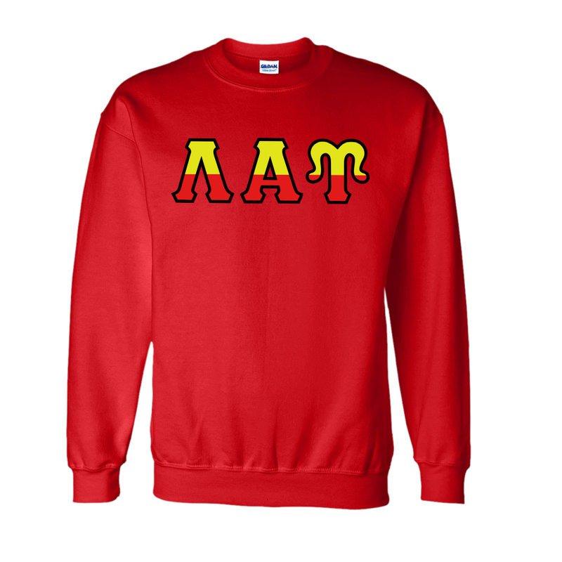 Lambda Alpha Upsilon Two Tone Greek Lettered Crewneck Sweatshirt
