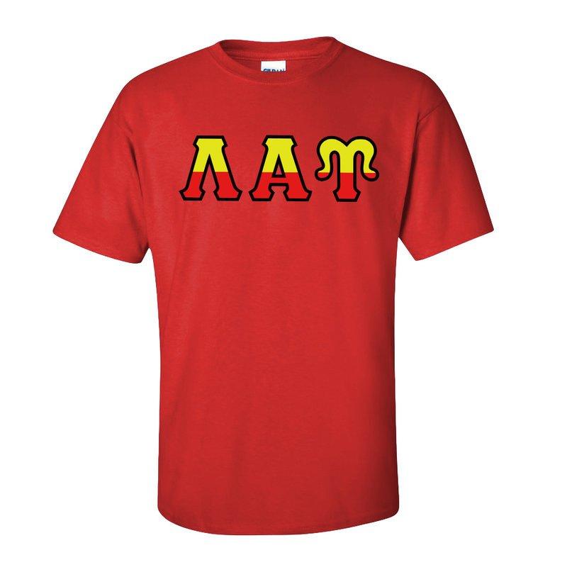 Lambda Alpha Upsilon Two Tone Greek Lettered T-Shirt