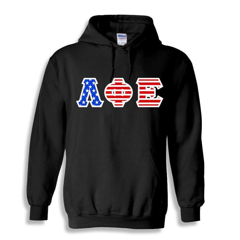 Lambda Phi Epsilon Greek Letter American Flag Hoodie