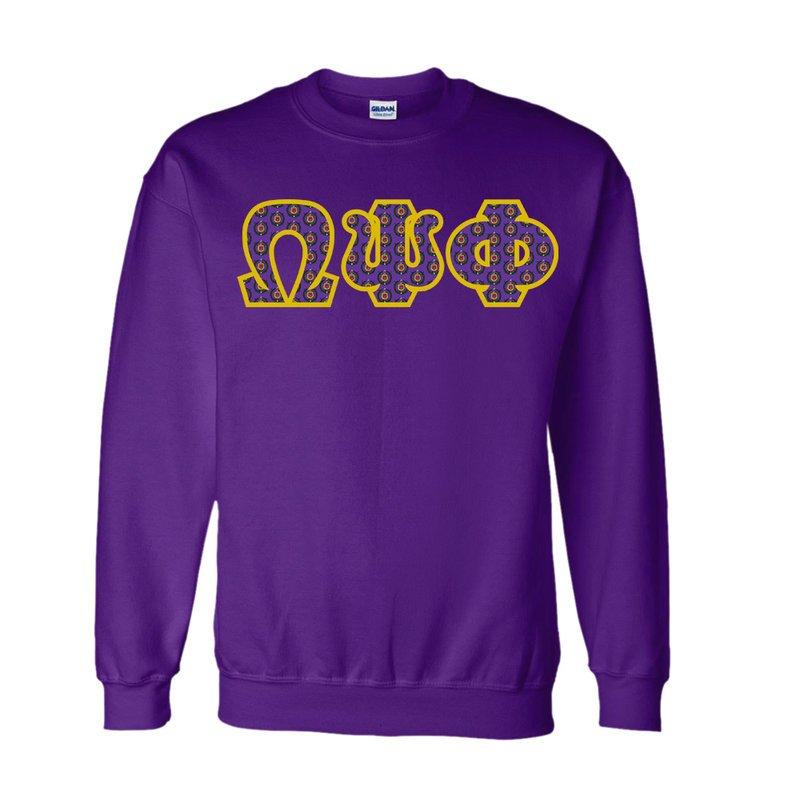 Omega Psi Phi Fraternity Crest Twill Letter Crewneck Sweatshirt Sale