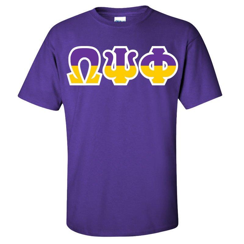 Omega Psi Phi Two Tone Greek Lettered T-Shirt