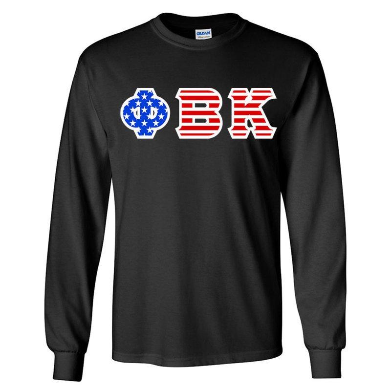 Phi Beta Kappa Greek Letter American Flag long sleeve tee
