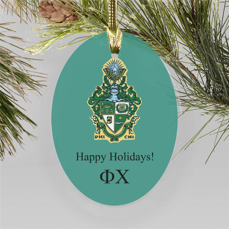 Phi Chi Holiday Color Crest - Shield Ornament