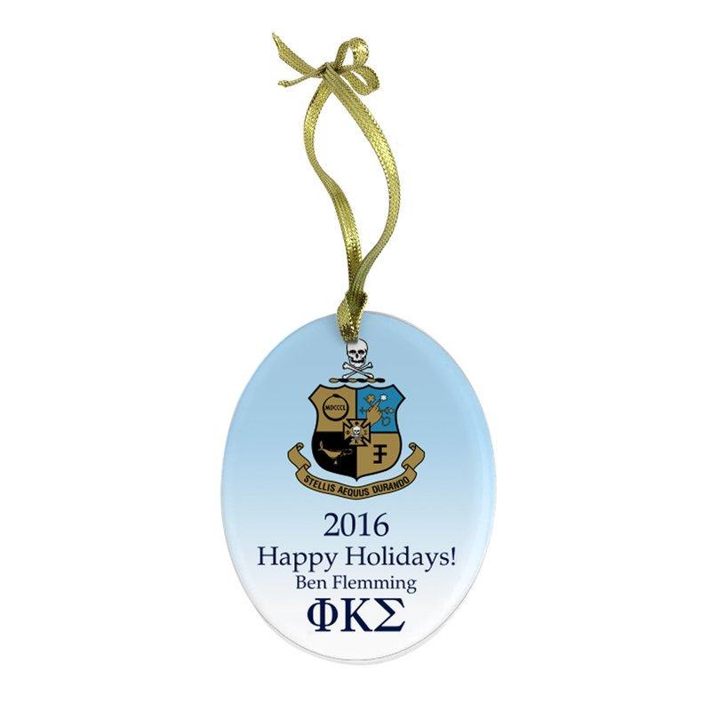 Phi Kappa Sigma Holiday Color Crest - Shield Glass Ornament