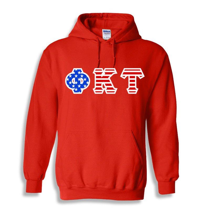 Phi Kappa Tau Greek Letter American Flag Hoodie
