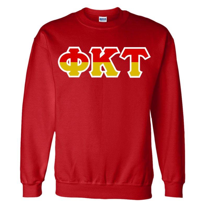 Phi Kappa Tau Two Tone Greek Lettered Crewneck Sweatshirt