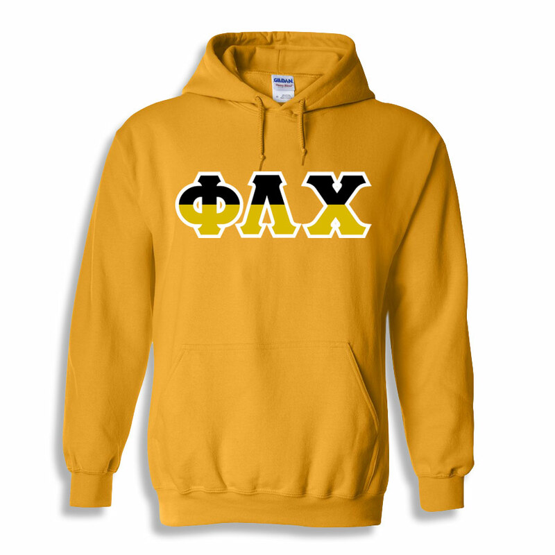 Phi Lambda Chi Two Tone Greek Lettered Hooded Sweatshirt
