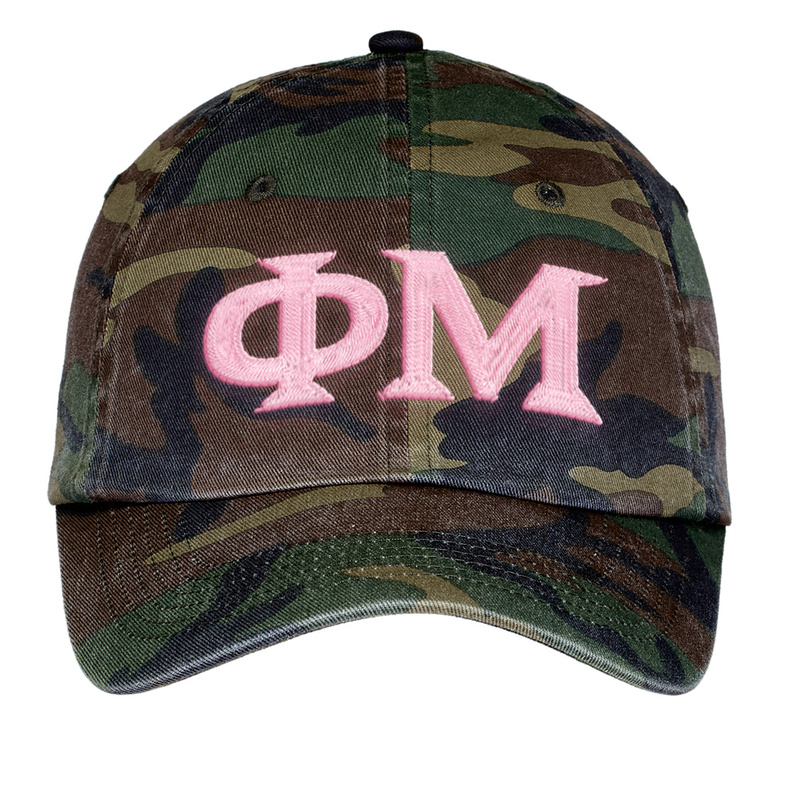 Phi Mu Lettered Camouflage Hat
