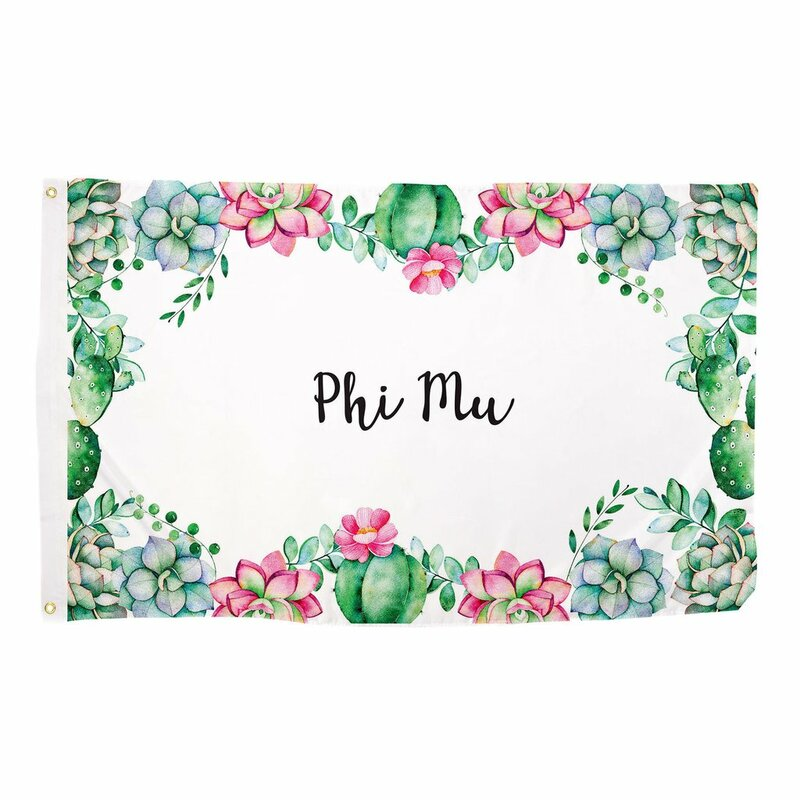 Phi Mu Succulent Flag