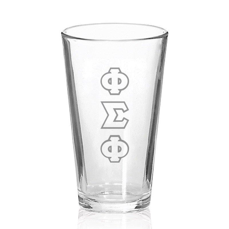 Phi Sigma Phi Big Letter Mixing Glass