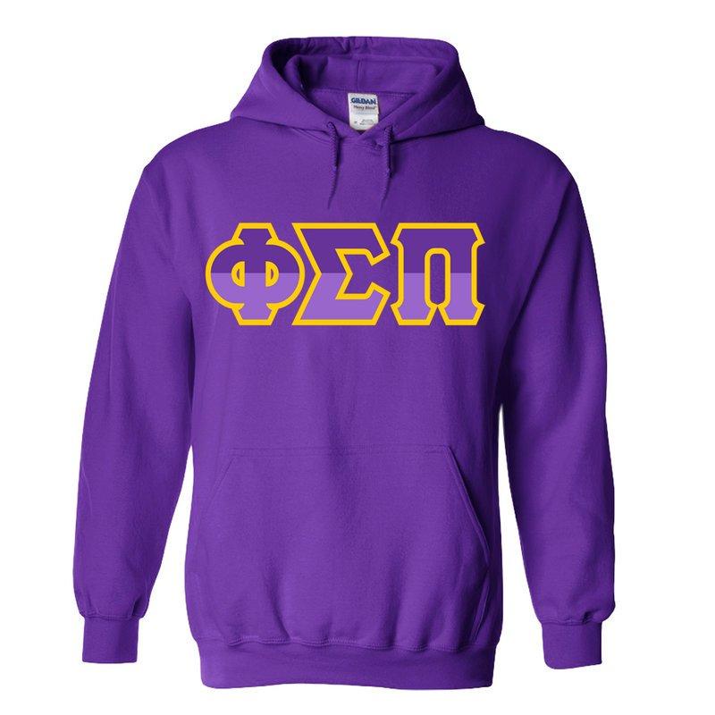 Phi Sigma Pi Two Tone Greek Lettered Hooded Sweatshirt