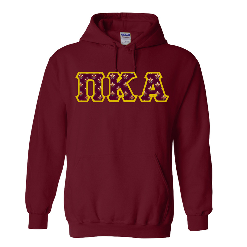 Pi Kappa Alpha Fraternity Crest - Shield Twill Letter Hooded Sweatshirt