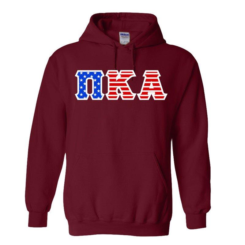 DISCOUNT-Pi Kappa Alpha Greek Letter American Flag Hoodie