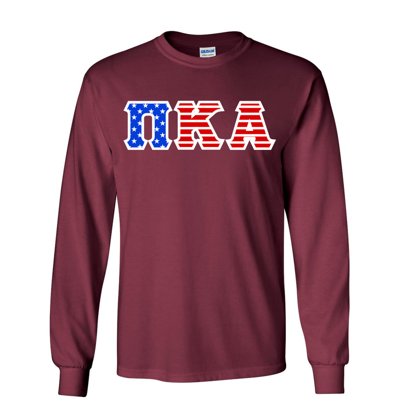 DISCOUNT-Pi Kappa Alpha Greek Letter American Flag long sleeve tee