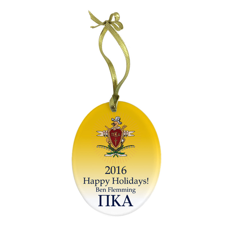 Pi Kappa Alpha Holiday Color Crest - Shield Glass Ornament
