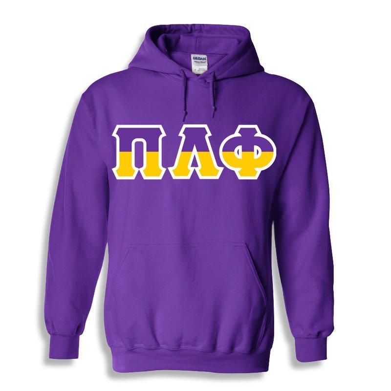 Pi Lambda Phi Two Tone Greek Lettered Hooded Sweatshirt